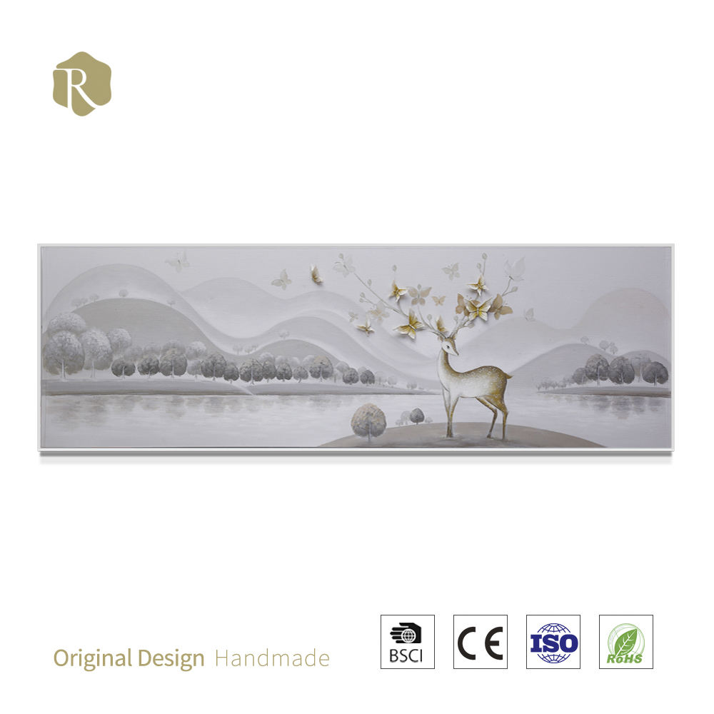 High quality embossed animal 3D embossment relief hunting activities oil painting/