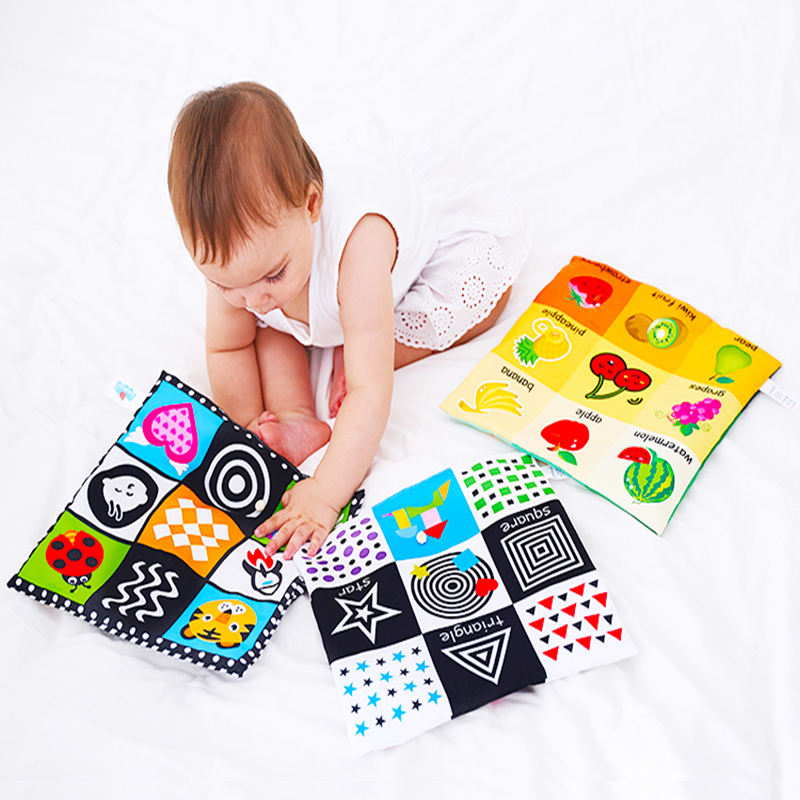 wholesale stock crinkle sound fabric book baby study educational toys