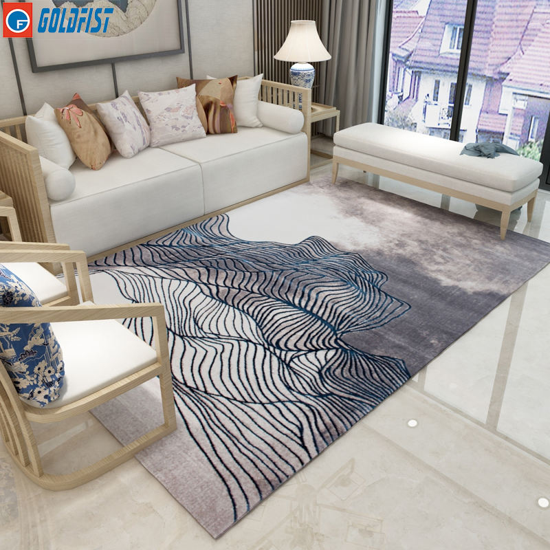 High quality modern abstract customized polyester material anti slip area rugs living room jute backing carpets 5 feet by 7 feet