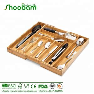 Bamboo Expandable Drawer Organizer, Adjustable Kitchen Cutlery and Utensil Tray Drawer Divider
