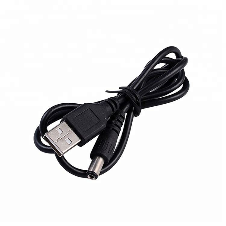 USB Type A Male to DC Barrel Jack Plug Connector DC Power Cord 2.1x5.5m Charging Cable Black