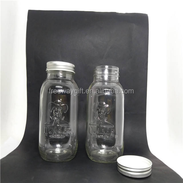 wholesale 1000ml cheap clear embossed glass mason storage jar with lid