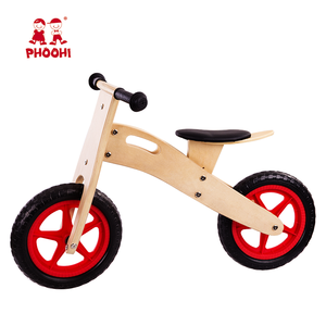 Natural simple baby no pedal bicycle children wooden classic balance bike for kids
