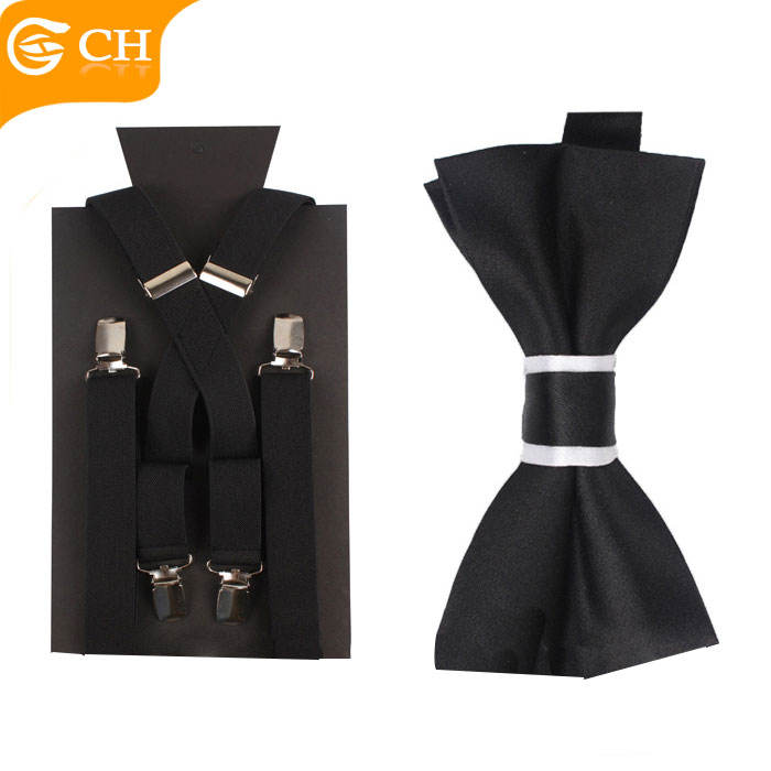 2020 Latest Design New Product Plain Black Fashion men Suspender And Bow Tie