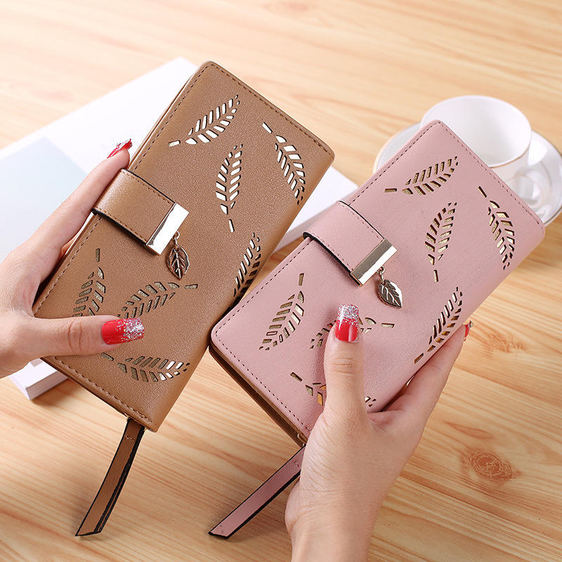 Female Long Gold Hollow Pouch Leaf Wallet Women Coin Card Holders PU Leather Clutch Wallet