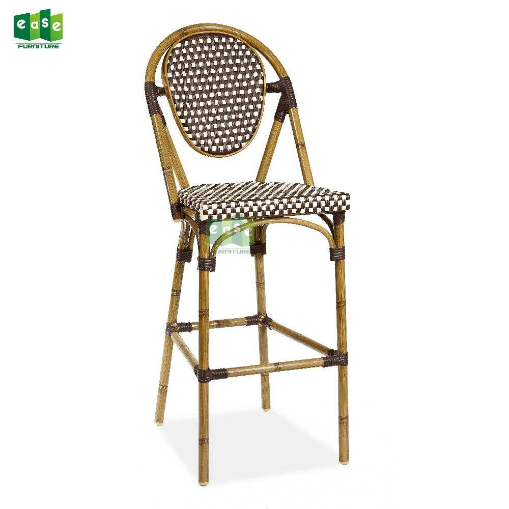 French style rattan outdoor aluminum bar stool high chair