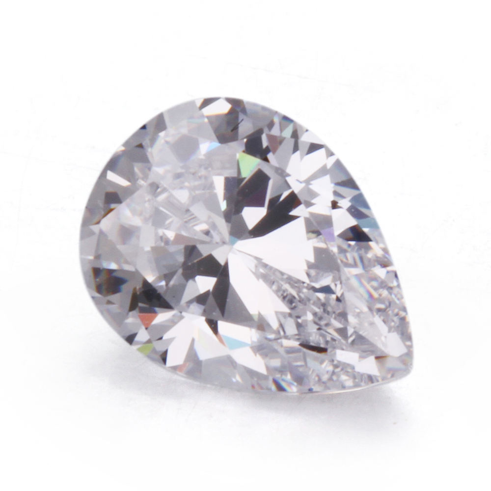 Charming cz zircon pear shape/ transparent white synthetic pear gemstone