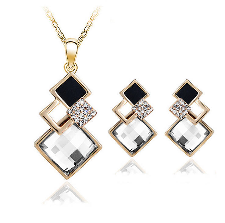 Classical Acrylic Crystal Rhinestone Geometric Square Pendant Necklace Earring Jewelry Set