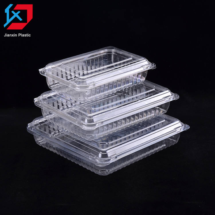 Accept customized disposable clear blister plastic fruit container transparent clamshell PET plastic salad container with lid
