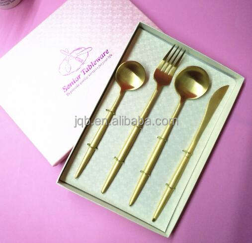 Rose gold plate stainless steel cutlery set with color gift box