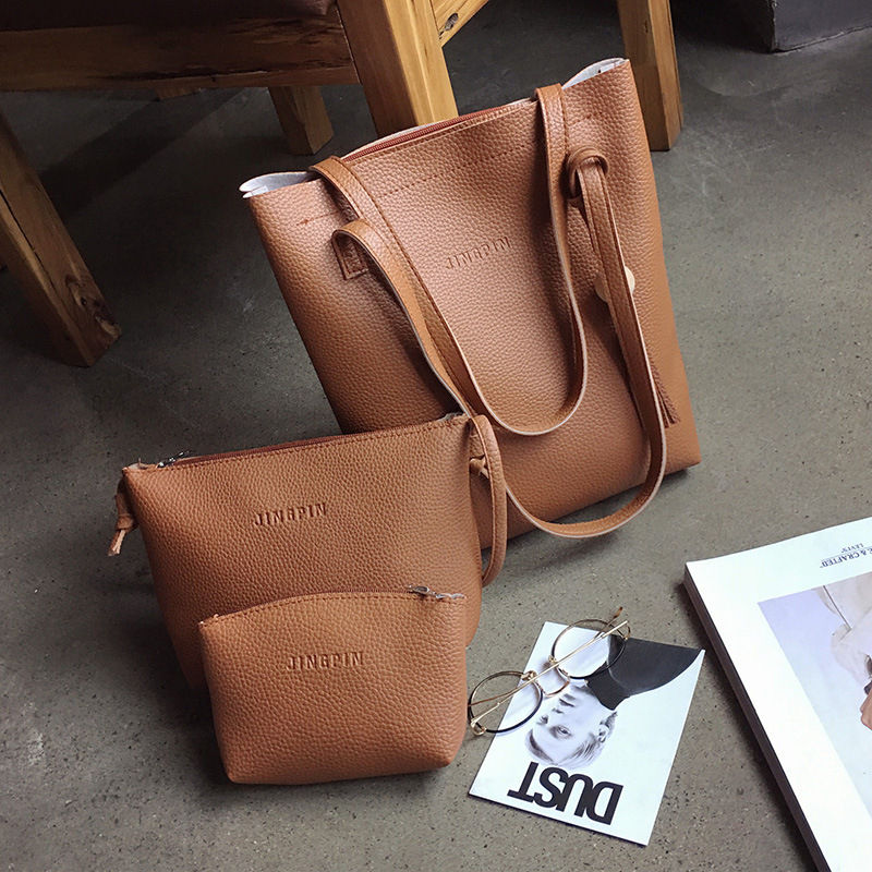 wholesale soft leather designer handbags famous brands large capacity 3pieces set lady hand bag