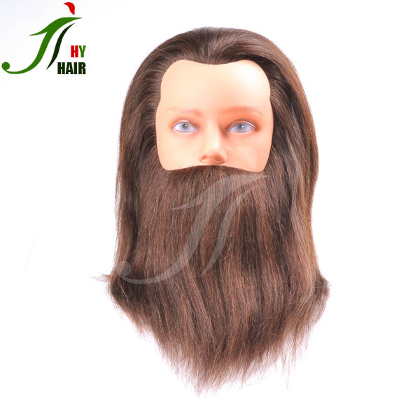 Hairdresser mannequin head with hair and beard 100% human hair training head