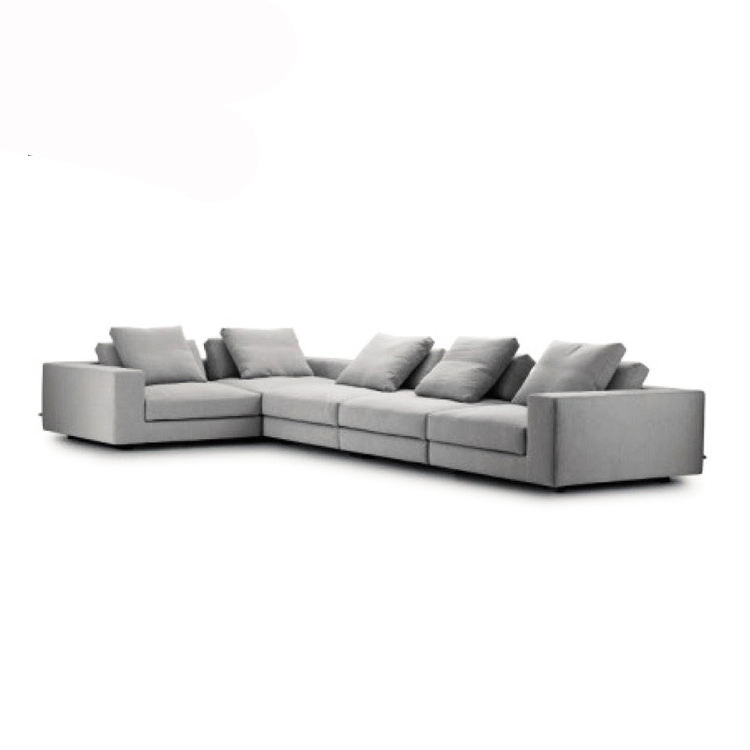 Nordic modern design grey L shape sectional sofa commercial 5 seater white fabric lounge suite sofas