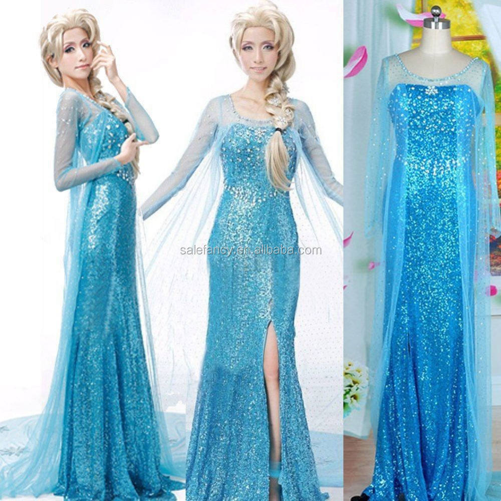 frozen elsa coronation dress costume cosplay for adult fancy dress adult costume QAWC-3142
