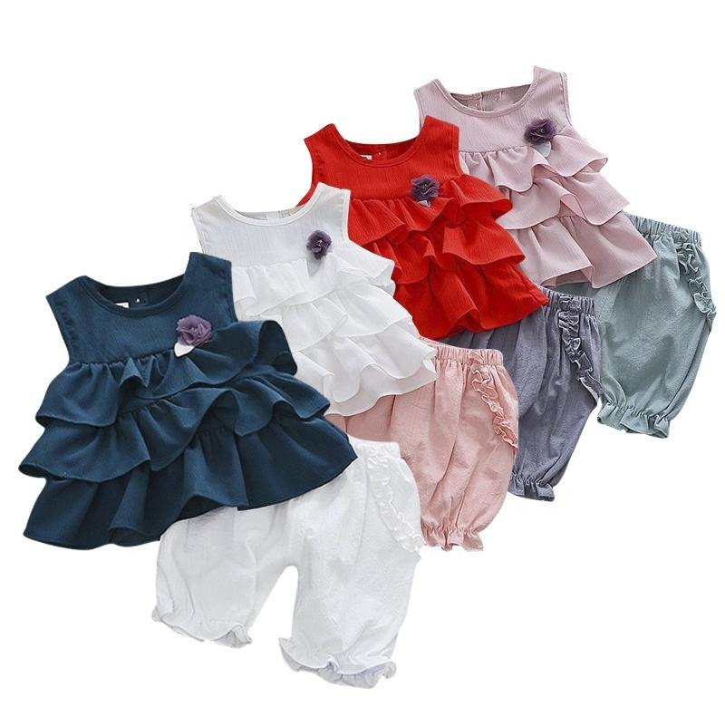 Chiffon Summer Flower Girls 2pcs set Baby Girl Dresses