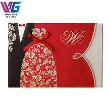 Luxurious Chinese Red Embossed Gold Stamped Wedding Invitation Card Printing