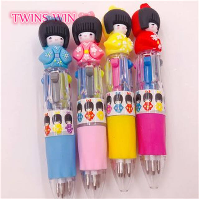 2019 made in china colorful short ballpoint pen kimono doll pen refill ballpoint 124