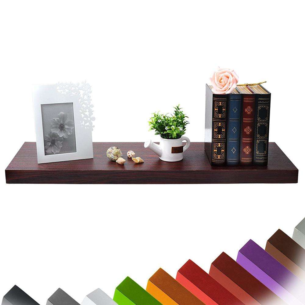 Floating MDF Mount Ledge Display Rack Wooden Wall Shelves with Hidden Metal Support Rack