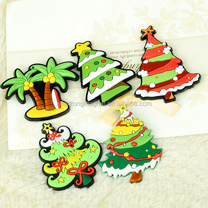 Christmas Tree Fridge Magnets Soft PVC Fridge Magnet Epoxy Resin Handicraft Cartoon Refrigerator
