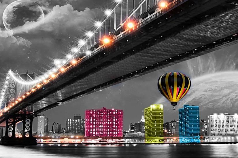 Vista de la ciudad al Atardecer de Suspensión de Pared Con Marco De Madera Obras de arte de Impresión con Iluminación LED