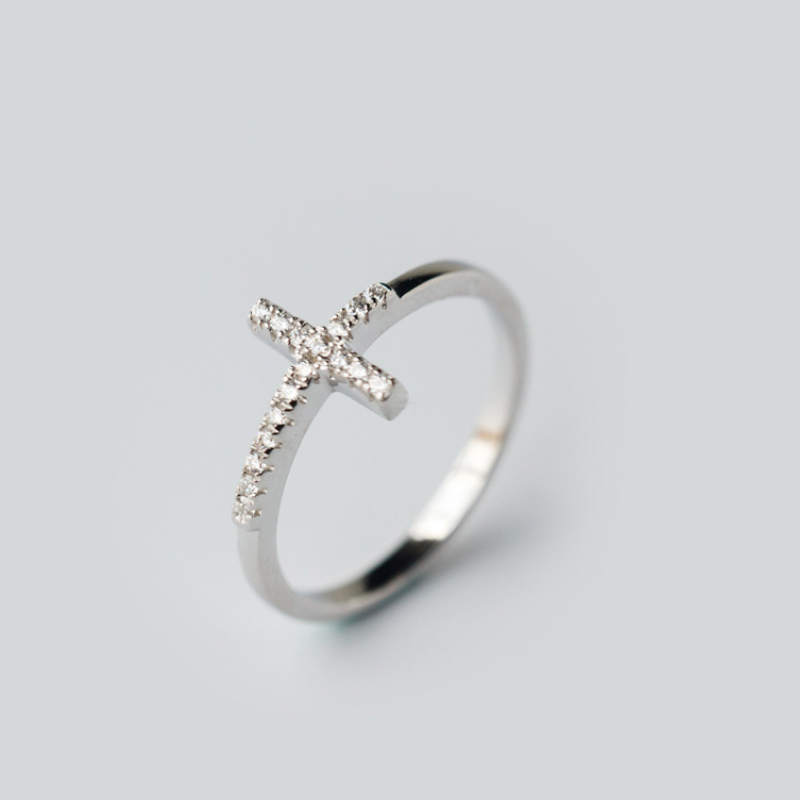 New Design 925 Sterling Silver Creative Mix Personality Inlaid Diamond Cross Ring Fine Jewelry