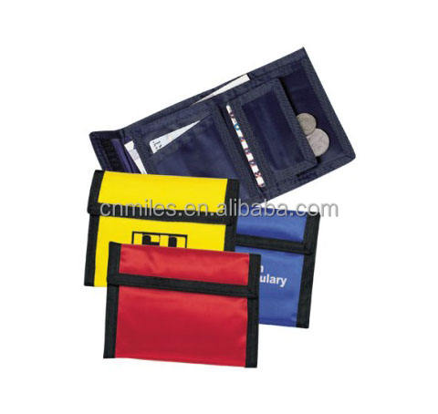 Promotional trifold binding coin pocket polyester nylon wallet