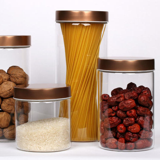 High glass storage container jars for food storage, glass jars storage for nuddles/spices