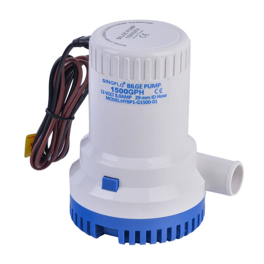 Singflo 5 - 10A Rated Current and 1001 - 1500GPH Flow Rate Marine RV Water Mini Bilge Pump