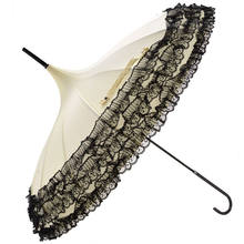 Ladies Sunproof Victoria Style Parasol Lace Flowers Shaped Pagoda Umbrella with Long Handle