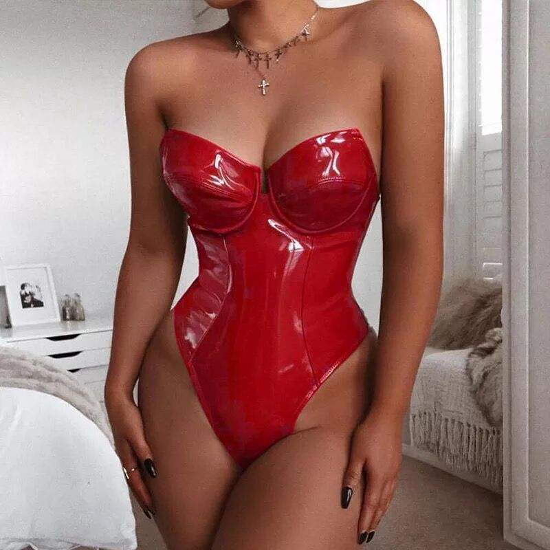 Sexy lady liebsten top body pu body plus größe top