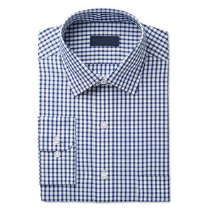 Men's Classic-Fit Wrinkle-Resistant Navy Check Dress Shirt camouflage dress shirts