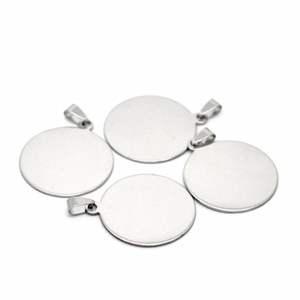 Round design custom shape free laser engrave high quality stainless steel jewelry blanks pendant