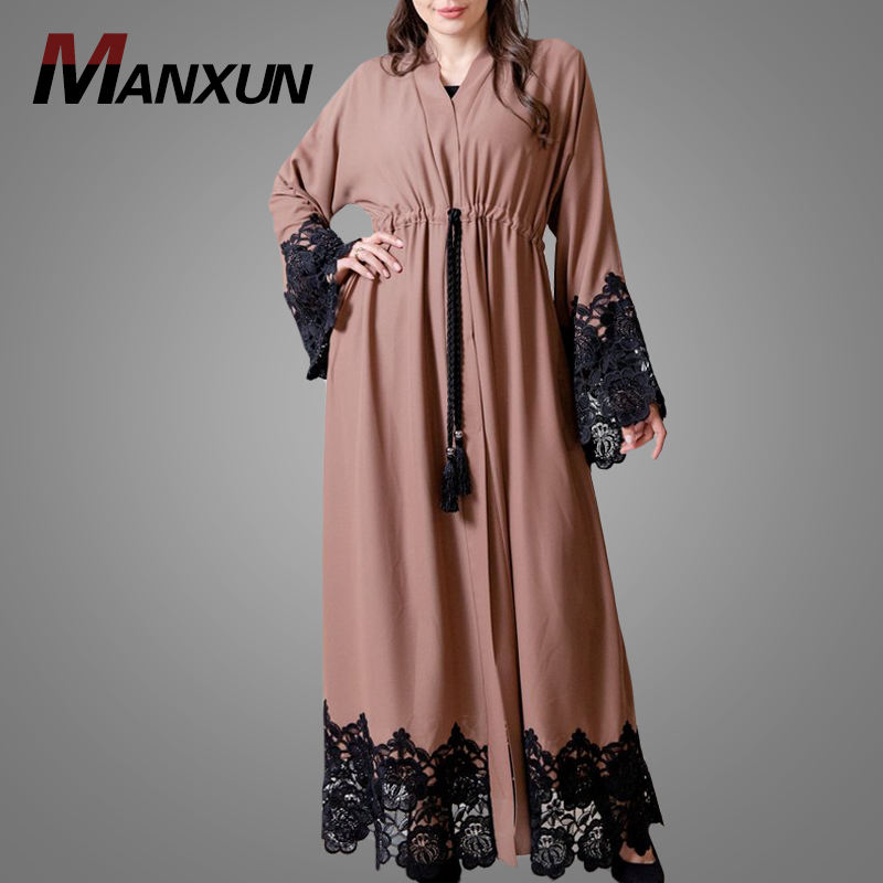 Modest Islamic Clothing Latest Fashion Muslim Front Open Kimono Abaya Soft Fabric New Model Abaya In Dubai