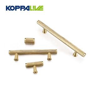 High-end Brass T Shape Wardrobe Straight Handle Knobs Copper Cabinet Furniture Door Pull Handles