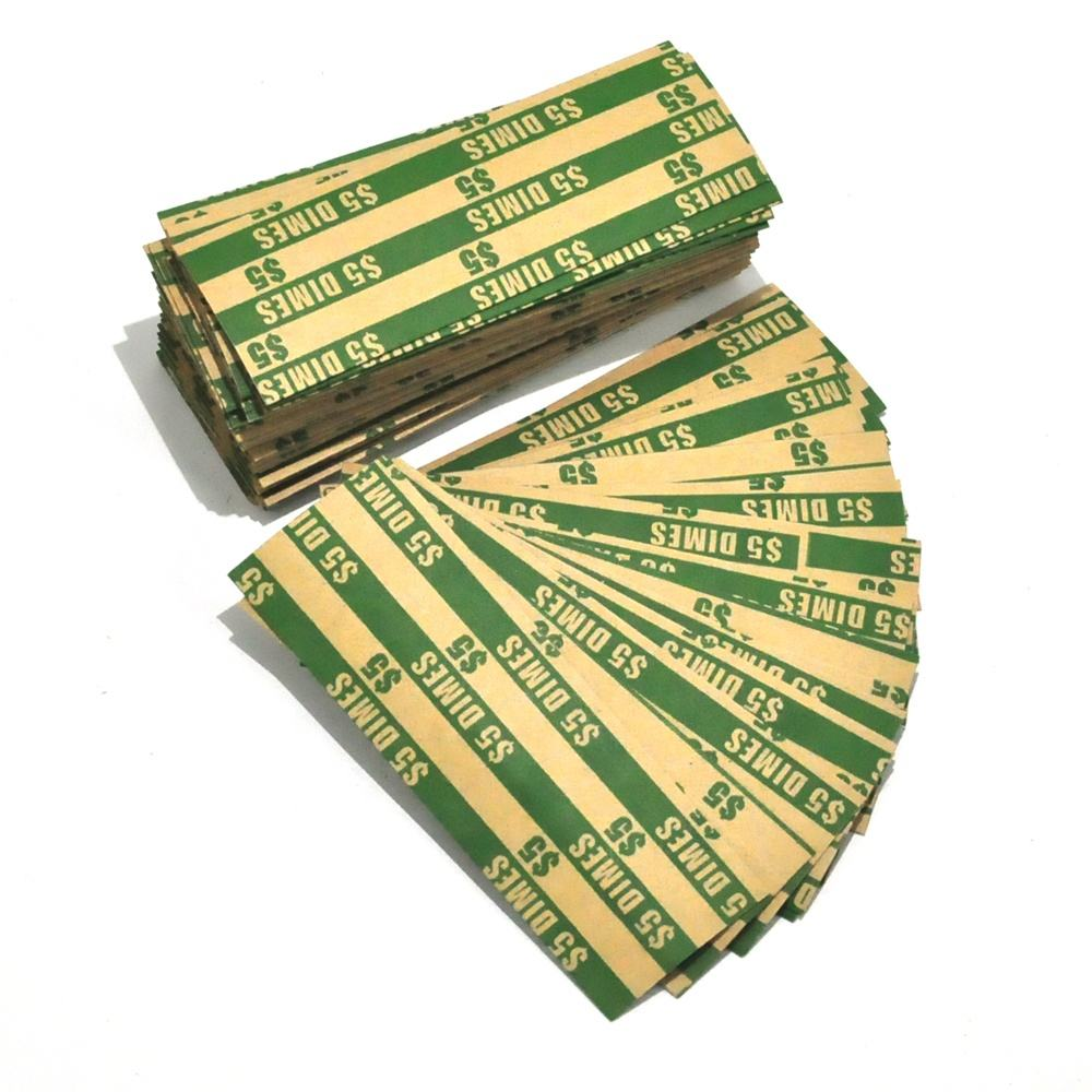 High quality assorted 4 sizes flat paper euro coin wrapper for finance
