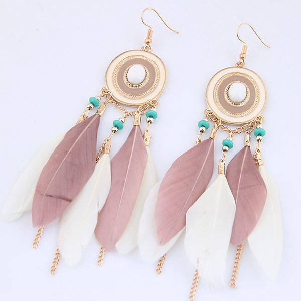 2017 Newest Fashion Long Tassel Earrings Charm Women Special Feather Shaped with Beads Alloy Tassel Earrings