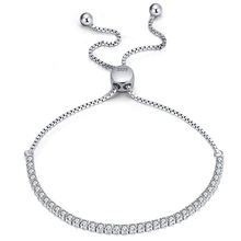RINNTIN SB43 Women 925 sterling silver jewelry Cubic Zirconia Adjustable Charm Bracelet