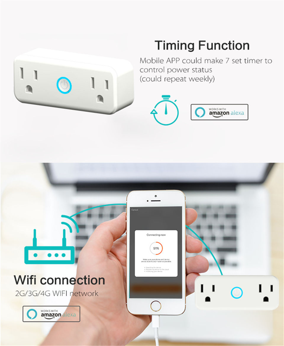 Mini WiFi Smart Socket US Standard Dual Outlet Wall Switch Plug Work with Amazon Alexa and Google Home