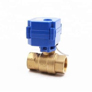 Cost effective 3/4'' DN20 DC12V brass 2 way motorized full bore ball valve with NPT thread