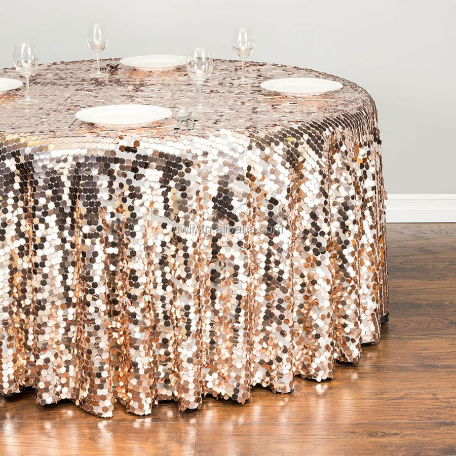 Luxury Fancy Wedding Wholesale Rose Gold Sequin Tablecloths Cheap Sequin Fabric