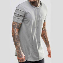 New style stylish plain short sleeve curved hem 100%cotton tie neck distressed panel longline t shirt men