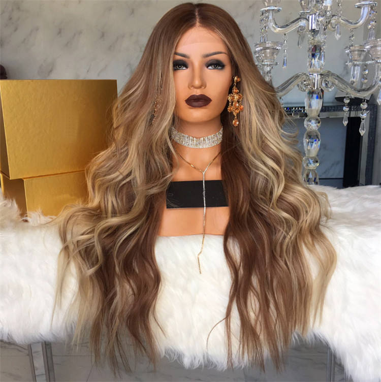 Customize accept highlighted human hair full lace wigs blend colors highlight lace wigs