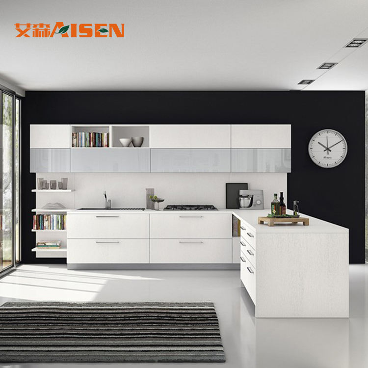 White knock down modern design kitchen cabinets for sale