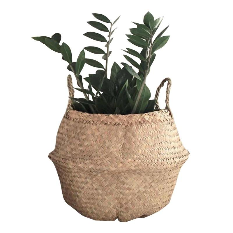 QJMAX High Quality Decoration Beautiful Hand Made Natural Seagrasses Storage Baskets
