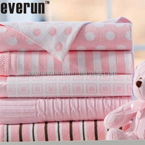 50CI97 baby girl blanket 100%cotton cashmere polka dot jacquard knitted blanket white ground pink dot knit blankets