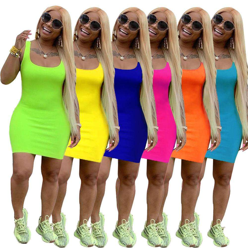 Hot sale women 2020 summer casual solid basic bandage bodycon dresses