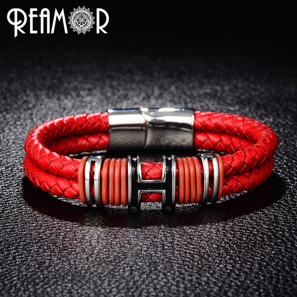 REAMOR 316l Stainless Steel Letter H Design Double Layers Braided Leather Bracelet For Women Men
