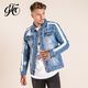 jackette for men wholesale latest design stripe sleeve plain color blue cowboy denim men jacket
