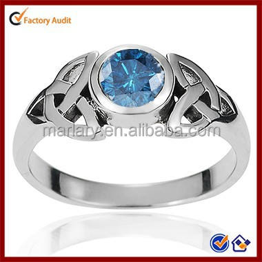 Fake Natural Designer Antique Blue Stone Sapphire Crystal Celtic Knot Ring