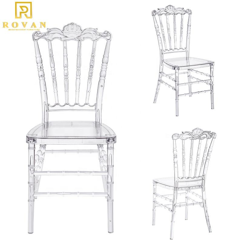 Wholesale cheaper stackable crystal clear royal used Wedding acrylic crystal chair plastic tiffany chair for Sale